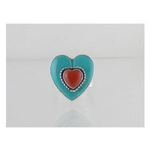 Sterling Silver Turquoise & Coral Heart Ring Size 8 - Adjustable