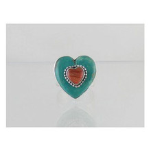 Sterling Silver Turquoise & Spiny Oyster Shell Heart Ring Size 7 - Adjustable