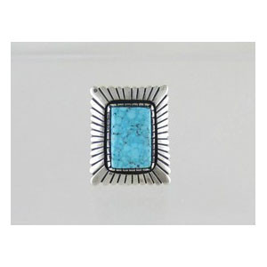 Natural Kingman Turquoise Ring Size 9 - Calvin Martinez
