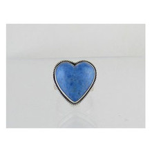 Sterling Silver Denim Lapis Heart Ring Size 7 - Adjustable