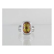 Sterling Silver Solar Flare Topaz Ring Size 8 1/2