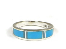 Sleeping Beauty Turquoise Inlay Ring Size 5