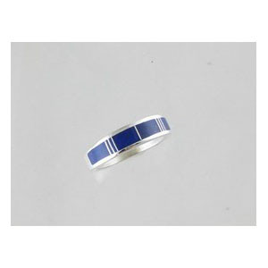 Sterling Silver Lapis Inlay Ring Size 8