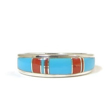 Sleeping Beauty Turquoise & Coral Inlay Band Ring Size 6