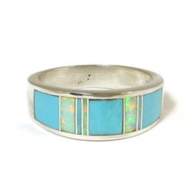 Sleeping Beauty Turquoise & Opal Inlay Ring Size 10