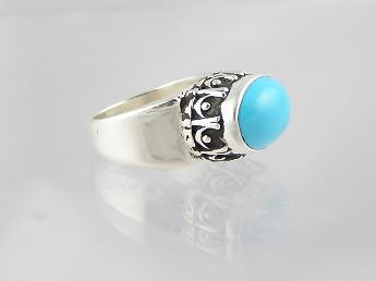 Sleeping Beauty Turquoise Gallery Wire Ring Size 5
