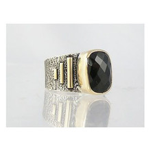 14k Gold & Silver Faceted Onyx Ring Size 9 1/4