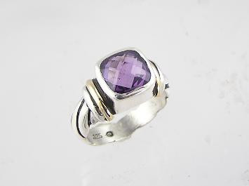 14k Gold, Silver & Amethyst Ring Size 6 1/2
