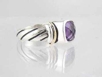 14k Gold, Silver & Amethyst Ring Size 5 1/2
