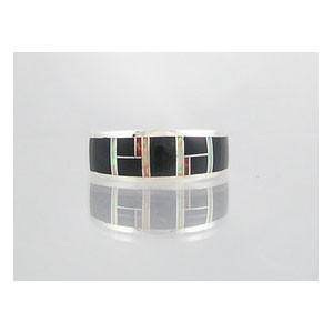 Jet, Opal & Coral Inlay Ring Size 12 1/2