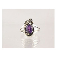 Sterling Silver Amethyst Ring Size 6 3/4