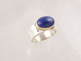 14k Gold & Silver Lapis Ring Size 8 1/2 (RG1257-S8)
