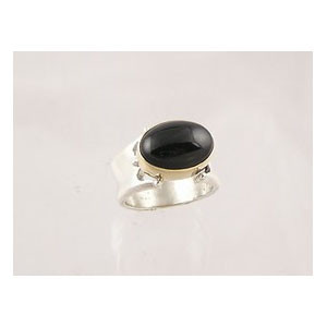 14k Gold & Silver Onyx Ring Size 6