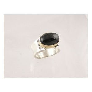14k Gold & Silver Onyx Ring Size 7