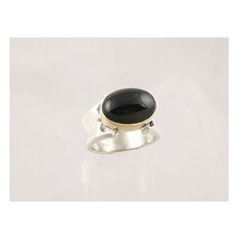 14k Gold & Silver Onyx Ring Size 9 1/2