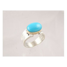 14k Gold & Silver Sleeping Beauty Turquoise Ring Size 5 1/2