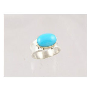 14k Gold & Silver Sleeping Beauty Turquoise Ring Size 7 1/2