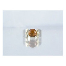 14k Gold & Silver Amber Ring Size 6