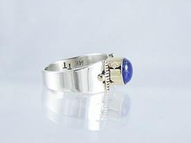 14k Gold & Silver Lapis Ring Size 5