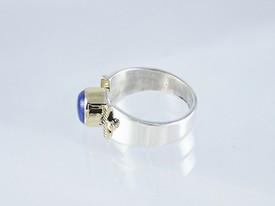 14k Gold & Silver Lapis Ring Size 7