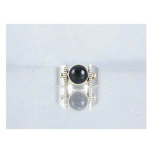 14k Gold & Silver Onyx Ring Size 5