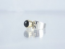 14k Gold & Silver Onyx Ring Size 5 1/2 (RG1705-G20)