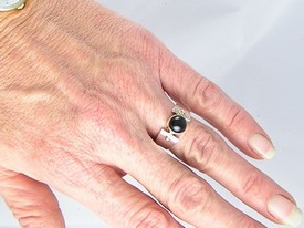 14k Gold & Silver Onyx Ring Size 7 1/2
