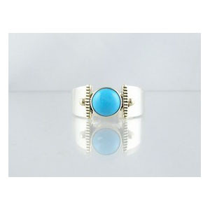 14k Gold & Silver Turquoise Ring Size 8