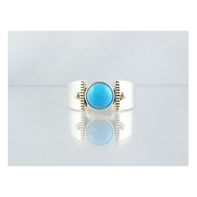 14k Gold & Silver Turquoise Ring Size 8 1/2