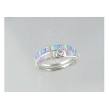 Sterling Silver Sculpted Opal Inlay Band Ring Set with CZ Size 7