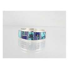 Turquoise & Lapis Inlay Ring Size 11 1/2