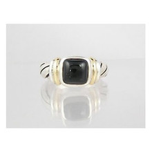 14k Gold & Sterling Silver Onyx Ring Size 8 1/2