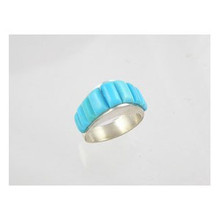 Sterling Silver Turquoise Inlay Ring Size 8