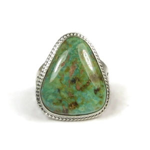 Manassa Turquoise Ring Size 12 by Timothy Guerro, Laguna Indian