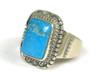 Kingman Turquoise Ring Size 12 by John Nelson, Navajo