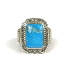 Kingman Turquoise Ring Size 12 by John Nelson, Navajo