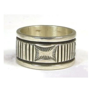 Wide Sterling Silver Band Ring Size 10 1/4 by Bruce Morgan, Navajo Indian Jewelry
