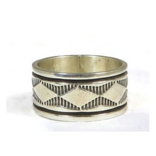 Wide Sterling Silver Band Ring Size 13 by Bruce Morgan, Navajo Jewelry