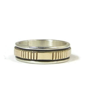 14k Gold Sterling Silver Band Ring Size 10 1/4 by Navajo Indian Artist Bruce Morgan