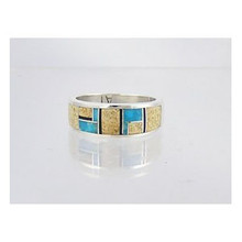 Turquoise, Jasper & Jet Inlay Ring Size 11