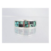 Turquoise, Jet, Opal & Coral Inlay Ring Size 11 1/4