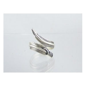 Sterling Silver Feather Wrap Ring Size 8 Adjustable by Lena Platero, Navajo