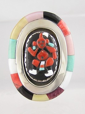 Multi Gemstone Mudhead Dancer Ring Size 7 - Bev Etsate