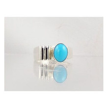 Contemporary Silver & Sleeping Beauty Turquoise Ring Size 8