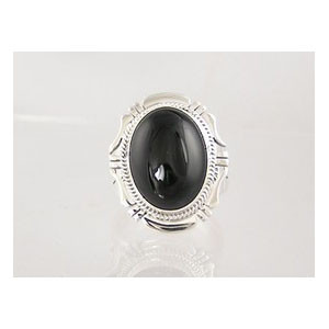 Sterling Silver Black Onyx Ring Size 10 1/4