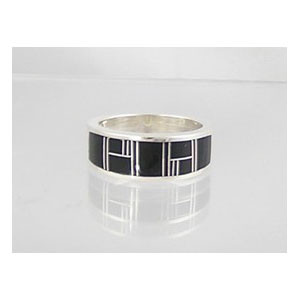 Jet Inlay Ring Size 8 1/4