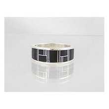 Jet Inlay Ring Size 8