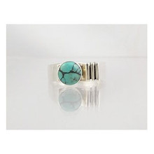 Spider Webbed Turquoise & Silver Ring Size 8 3/4