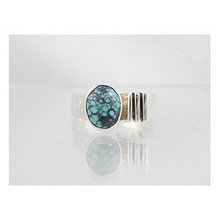 Spider Webbed Turquoise & Silver Ring Size 8 1/2