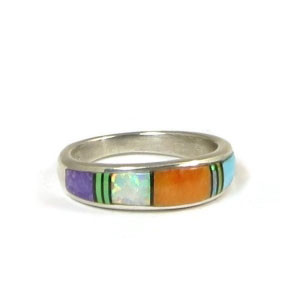 Multi Gemstone Inlay Ring Size 6 3/4
